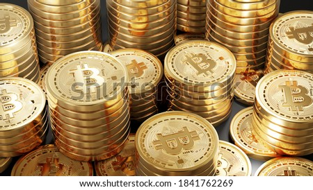 A Lot Of Bitcoin Crypto currency Gold Bitcoin BTC Bit Coin. Close up shot of Bitcoin coins isolated on black background Blockchain technology, bitcoin mining concept. 3d rendering