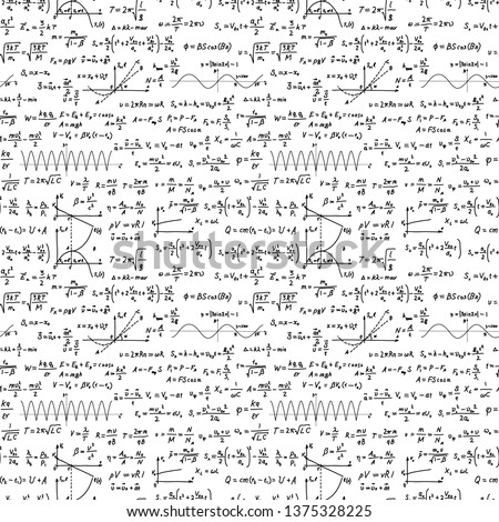 A lot of black hand-drawn complicated scientific formulas and calculations, seamless pattern on white