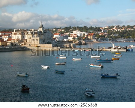 A lot of boats in the bay of Cascais. Portugal.