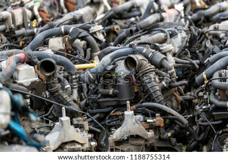 A lot of car engines. Car Assembly, spare parts trade #1188755314