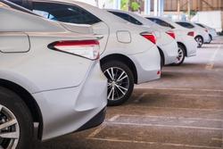 A lot of cars in a row. Сar sales In the parking lot Silver color Car rental service