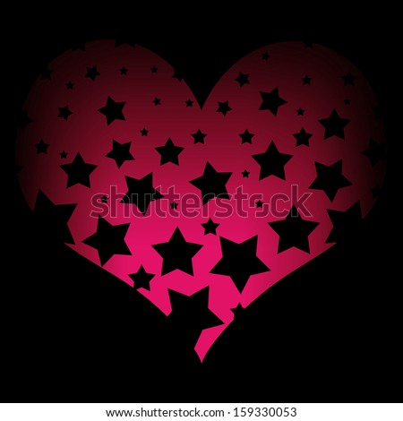Neon Hearts And Stars of Hearts Neon Pink Color