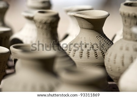 A lot of clay pots with shallow depth of field