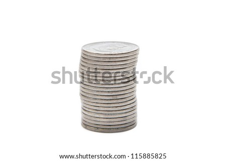 a lot of coins on white background