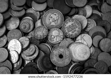 A lot of coins. several currencies. Currency. money.