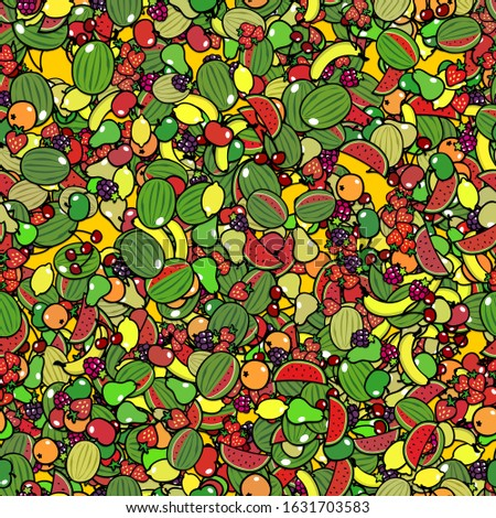 A lot of colorful cartoon fruits as a seamless tileable background texture