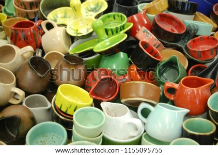 a lot of colorful ceramic ware. background #1155095755