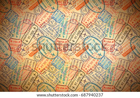 A lot of colorful International travel visa rubber stamps imprints on old paper, horizontal vintage background
