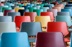 a lot of colorfull chairs