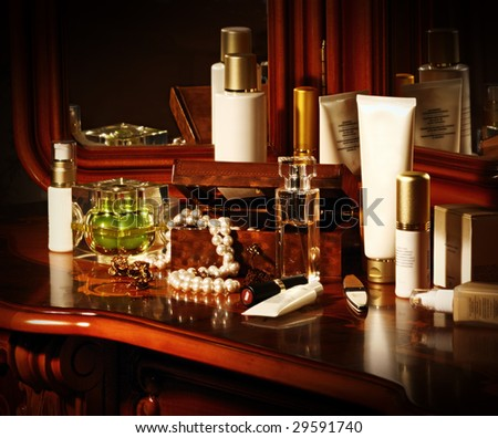 a lot of cosmetics bottles on a table