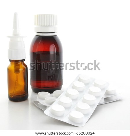 a lot of different pharmaceutical products isolated on white background