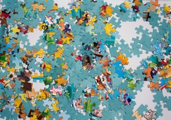 a lot of different puzzles in different colors .