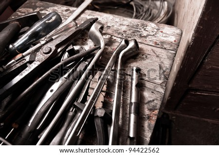 A lot of different tools of a worker