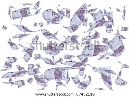 A lot of 500 euros bills falling like rain.