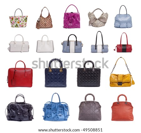 a lot of fashion bags on white background