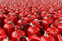 A lot of fire extinguishers. Concept of protection and security