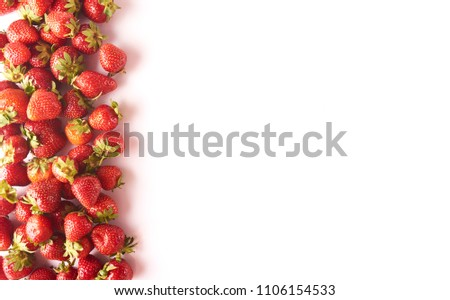 A lot of Fresh tasty strawberries isolated on white background space for text #1106154533