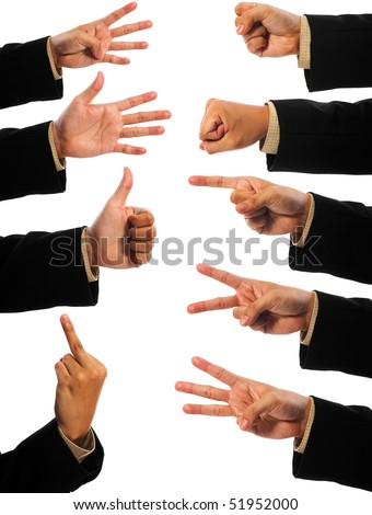 A lot of hand gesturing of man isolated over white backgroud