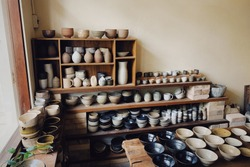 A lot of heart made pottery in shop