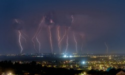 A lot of lightnings hit the ground during the storm in the night
