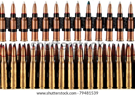 a lot of machine gun bullets on the white background