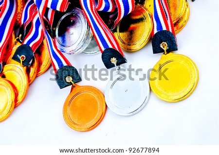 A lot of Medals, award with white background