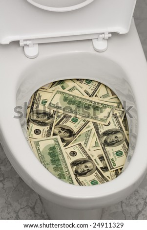 A lot of money is flushed down the toilet.