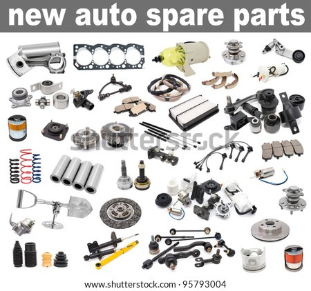 a lot of new auto spare parts, over white background