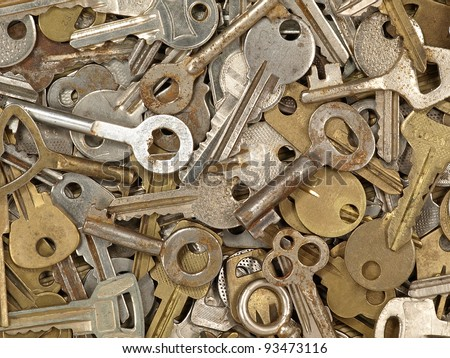A lot of old metal keys taken closeup as background.