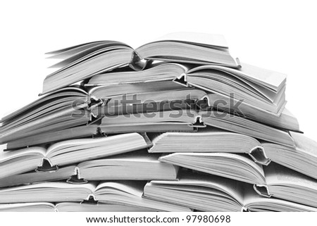 a lot of open books isolated on white background