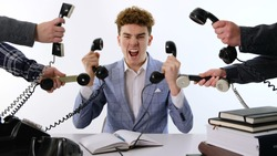 A lot of phone calls: Busy Angry assistant agent helper  working and answering a lot of calls at the same time, landline rotary phone. old school marketing or bad assistance concept