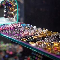 A lot of piercing pieces in a store