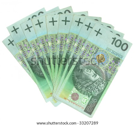 A lot of polish money isolated on white