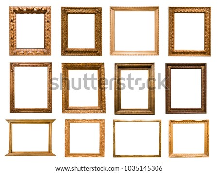 a lot of rectangular golden frame for photo on isolated background #1035145306