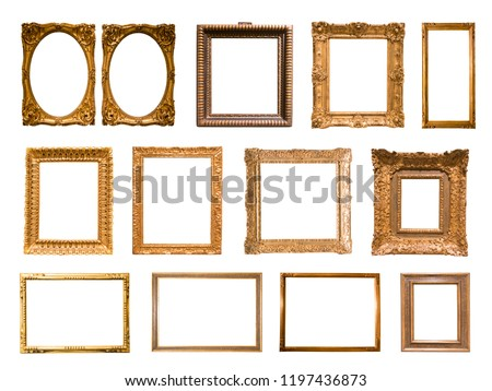 a lot of rectangular golden frame for photo on isolated background