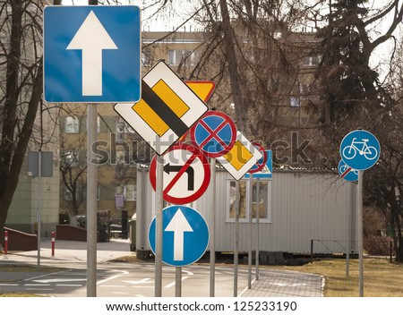 A lot of road signs.