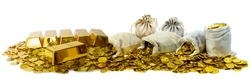 A lot of stacking gold bar 1kg and gold coin and in treasure sack on white background