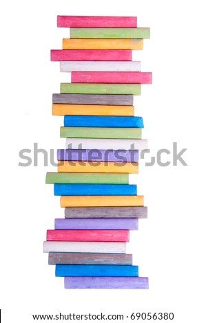 A Lot Of Sticks of Pastel Colored Chalk Crayons, Isolated On White Background