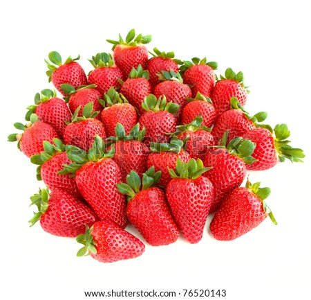A lot of sweet and juicy strawberries isolated on white background. - stock photo