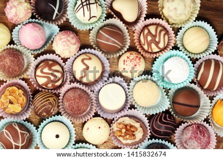 a lot of variety chocolate pralines, belgian confectionery gourmet chocolate confectionery