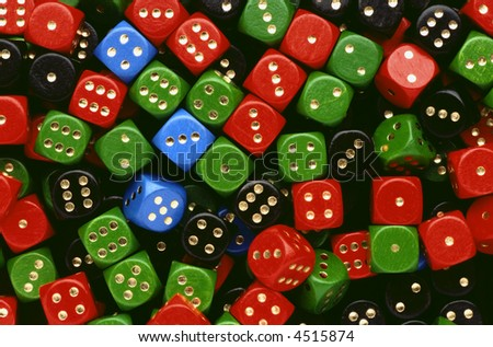 a lot of various dices in a mess