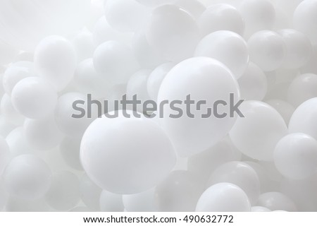 A lot of white balloons, background #490632772