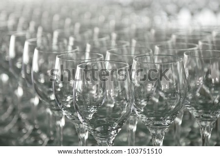 A lot of wine glasses in a row