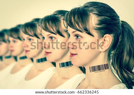 A lot of women in a row with barcode on neck - genetic clone concept - retro style