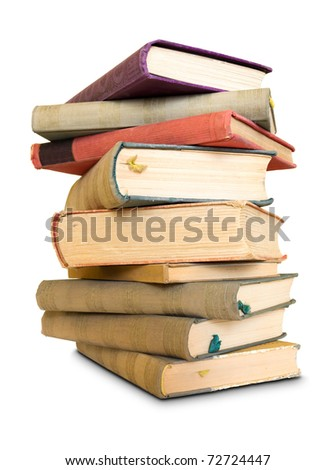 A lot to read, large pile of old books, isolated over white background.