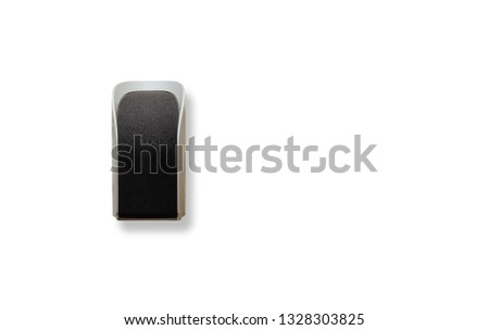 A loudspeaker hanging Isolated on white. The concept of adequate sound system, letting go of music. Black, small speaker in a silver housing. #1328303825