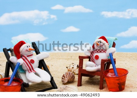 A lounge chair with snowman on a sky background, Relaxing on your winter vacation