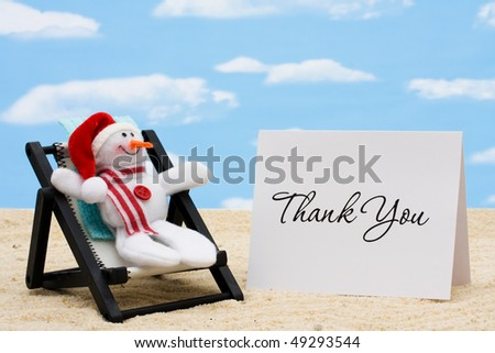 A lounge chair with snowmen on a sky background, Thankful for Vacation Time