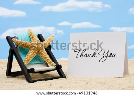 A lounge chair with starfish on a sky background, Thankful for Vacation Time