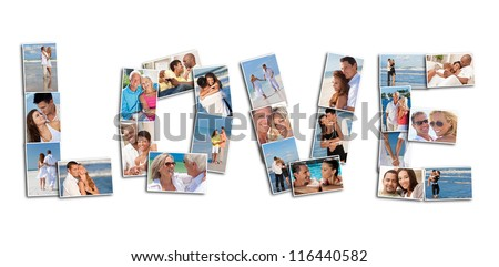A love concept montage of attractive, happy smiling people couples together romantic on the beach, relaxing at home, embracing, holding hands in love